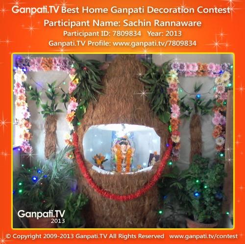 Sachin rannaware ganpati tv for Ganpati decorations for home photos