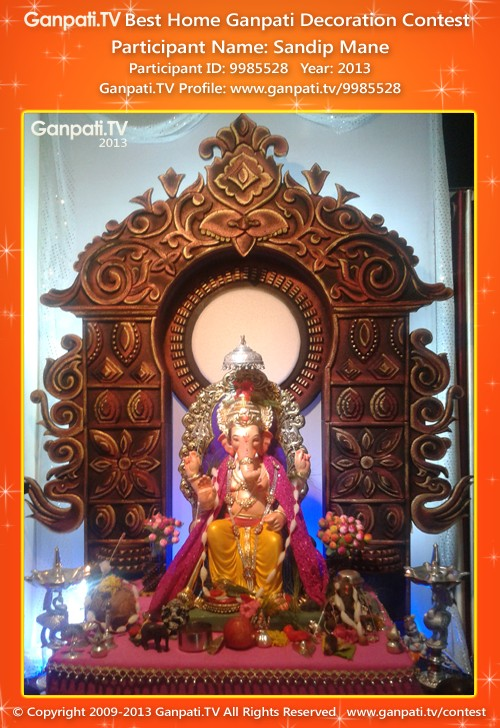 Makhar frame ganpati tv Ganpati decoration design for home