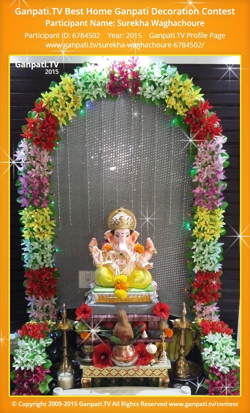 Surekha waghachoure ganpati tv for Artificial flower decoration for ganpati